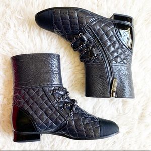Chanel Black Quilted Chain Moto Zip Up Booties